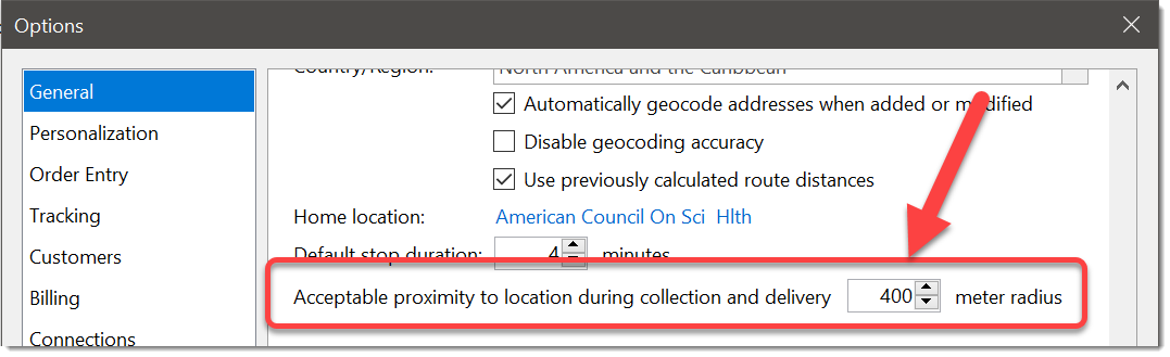 Set acceptable proximity for collections and deliveries