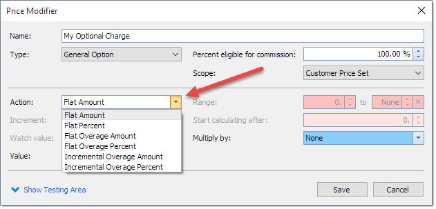 Price adjustment in courier software