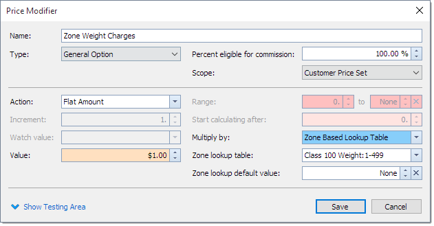 Zone based pricing in delivery software