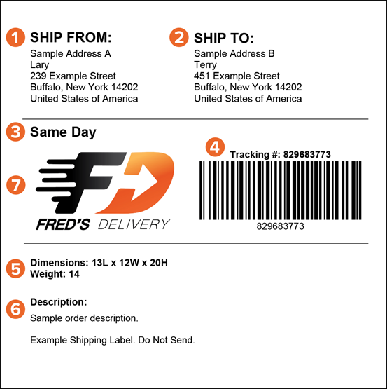 Courier software shipping label